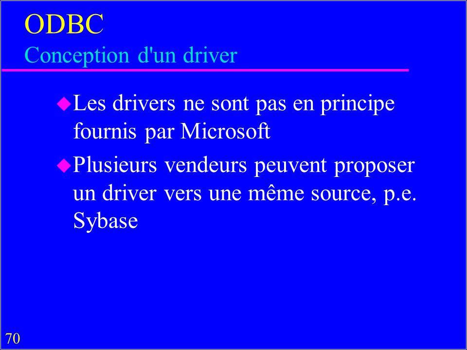 70 ODBC Conception d un driver u Les drivers ne sont pas en principe fournis par Microsoft u Plusieurs vendeurs peuvent proposer un driver vers une même source, p.e.