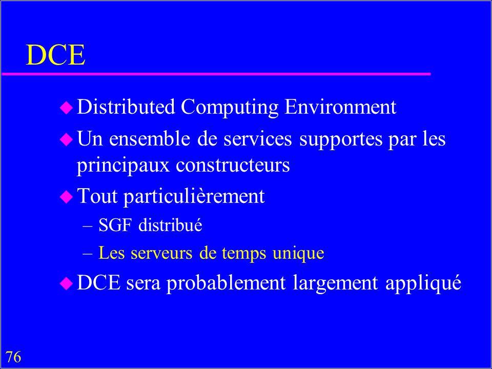 76 DCE u Distributed Computing Environment u Un ensemble de services supportes par les principaux constructeurs u Tout particulièrement –SGF distribué –Les serveurs de temps unique u DCE sera probablement largement appliqué