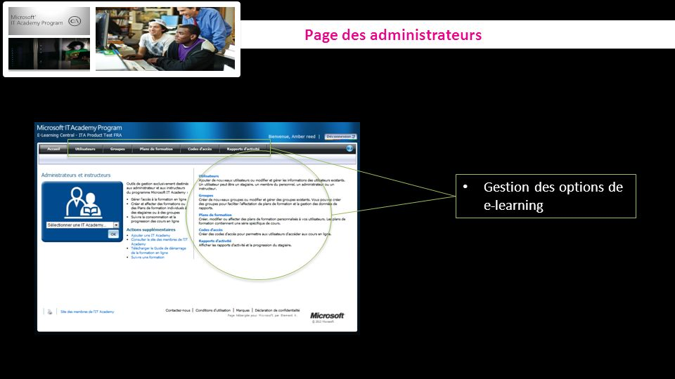 Gestion des options de e-learning Page des administrateurs