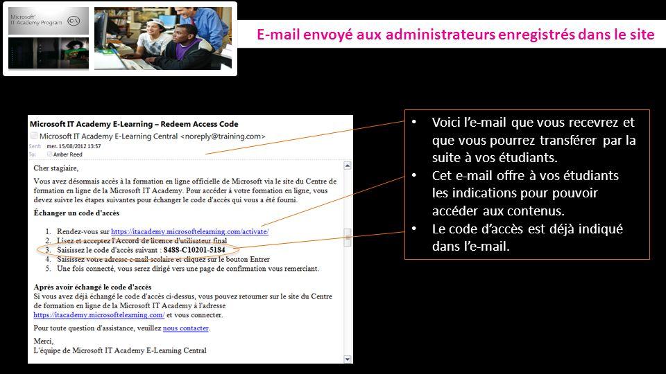 E-mail envoyé aux administrateurs enregistrés dans le site Voici le-mail que vous recevrez et que vous pourrez transférer par la suite à vos étudiants