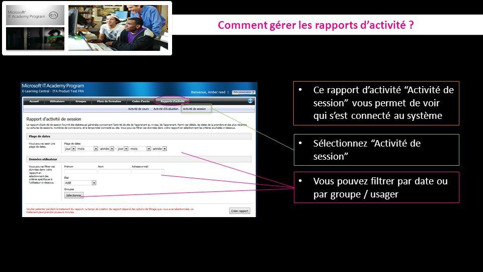 Comment gérer les rapports dactivité ? Sélectionnez Activité de session Vous pouvez filtrer par date ou par groupe / usager Ce rapport dactivité Activ
