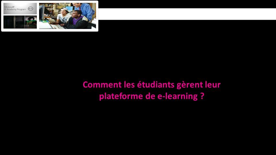 Comment les étudiants gèrent leur plateforme de e-learning ?