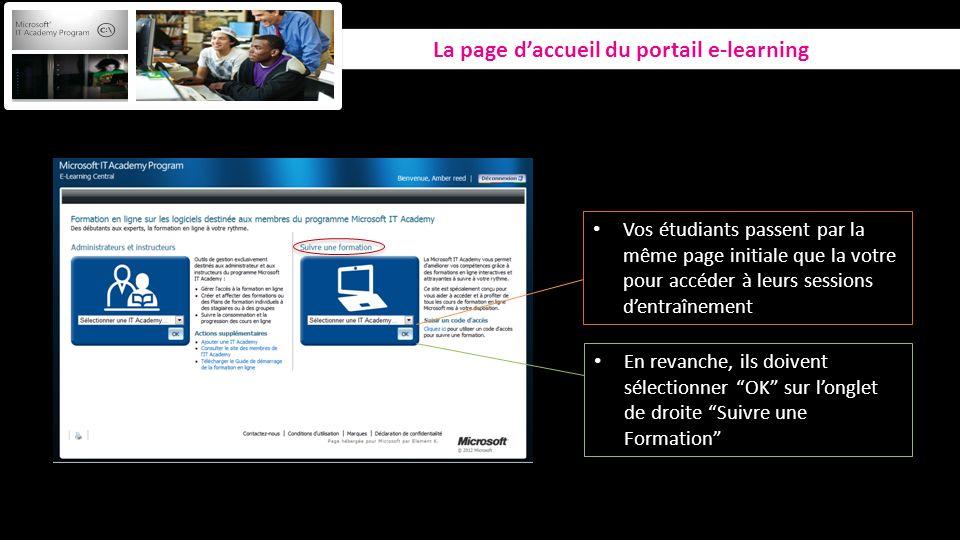 La page daccueil du portail e-learning Vos étudiants passent par la même page initiale que la votre pour accéder à leurs sessions dentraînement En rev