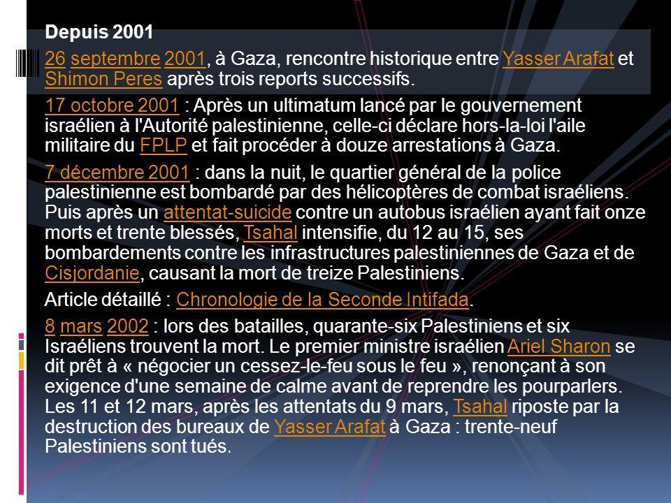 Depuis 2001 26 septembre 2001, à Gaza, rencontre historique entre Yasser Arafat et Shimon Peres après trois reports successifs. 17 octobre 2001 : Aprè