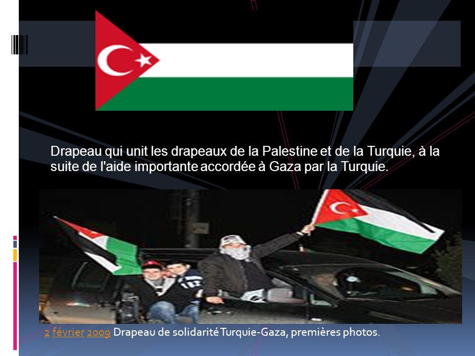 Drapeau qui unit les drapeaux de la Palestine et de la Turquie, à la suite de l aide importante accordée à Gaza par la Turquie.