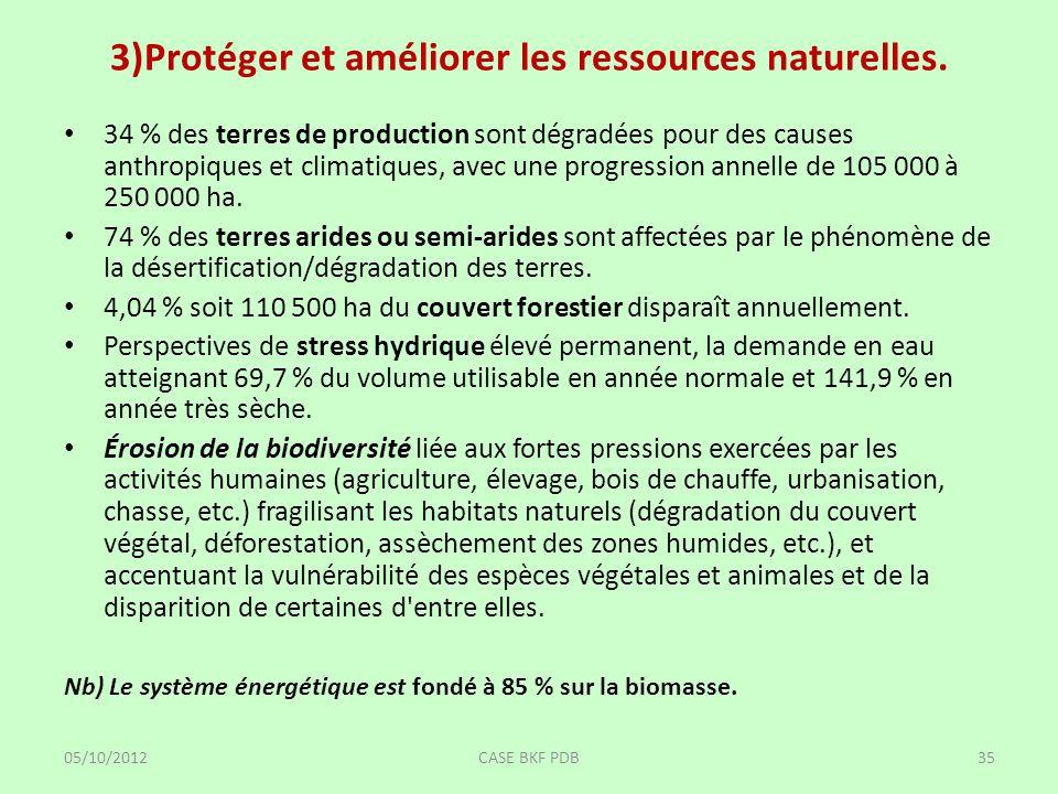 3)Protéger et améliorer les ressources naturelles. 34 % des terres de production sont dégradées pour des causes anthropiques et climatiques, avec une