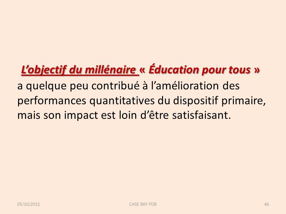 Lobjectif du millénaire « Éducation pour tous » Lobjectif du millénaire « Éducation pour tous » a quelque peu contribué à lamélioration des performances quantitatives du dispositif primaire, mais son impact est loin dêtre satisfaisant.