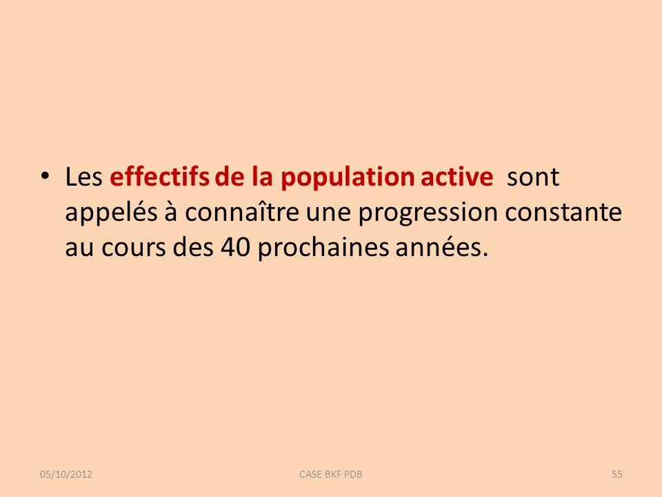 Les effectifs de la population active sont appelés à connaître une progression constante au cours des 40 prochaines années. 05/10/2012CASE BKF PDB55