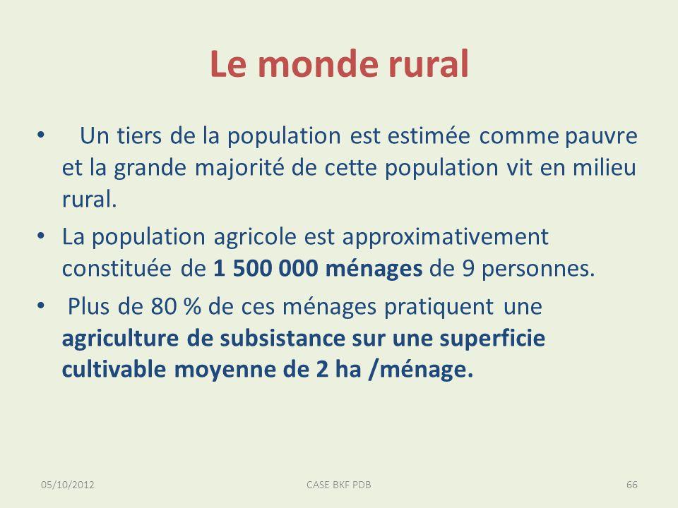 Le monde rural Un tiers de la population est estimée comme pauvre et la grande majorité de cette population vit en milieu rural. La population agricol
