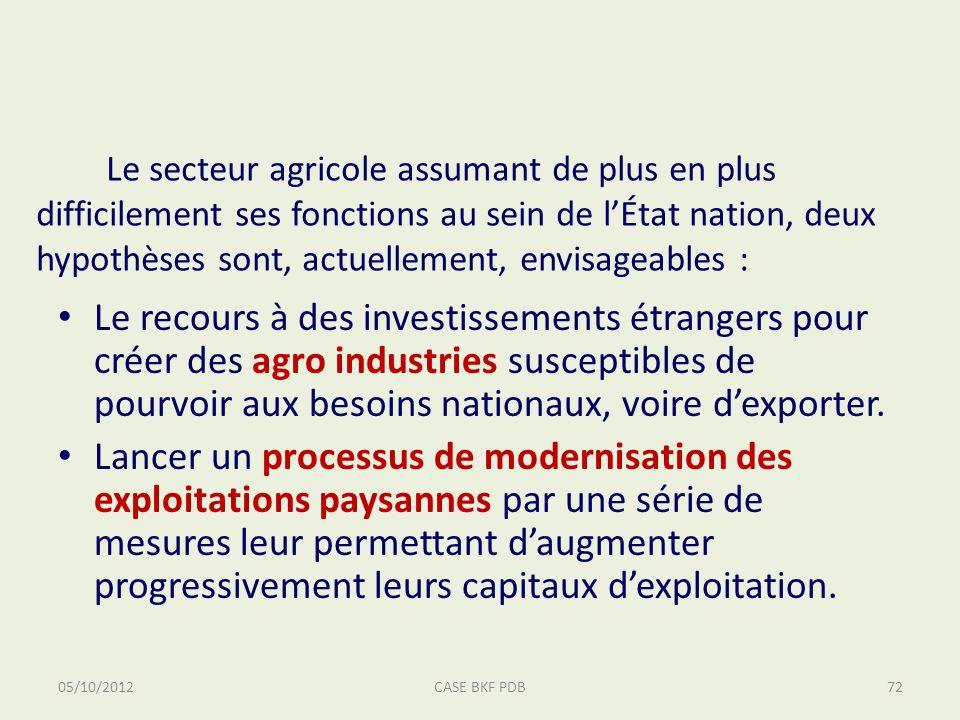 Le secteur agricole assumant de plus en plus difficilement ses fonctions au sein de lÉtat nation, deux hypothèses sont, actuellement, envisageables : Le recours à des investissements étrangers pour créer des agro industries susceptibles de pourvoir aux besoins nationaux, voire dexporter.