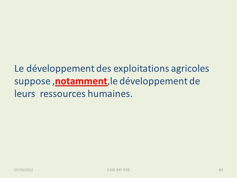 05/10/2012CASE BKF PDB83 Le développement des exploitations agricoles suppose,notamment,le développement de leurs ressources humaines.
