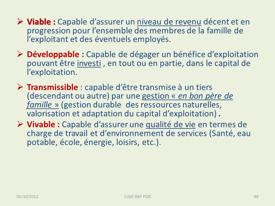 05/10/2012CASE BKF PDB86 Viable : Viable : Capable dassurer un niveau de revenu décent et en progression pour lensemble des membres de la famille de lexploitant et des éventuels employés.