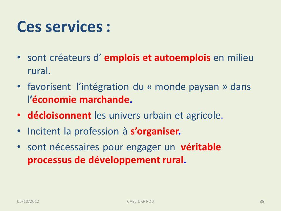 05/10/2012CASE BKF PDB88 Ces services : sont créateurs d emplois et autoemplois en milieu rural. favorisent lintégration du « monde paysan » dans léco