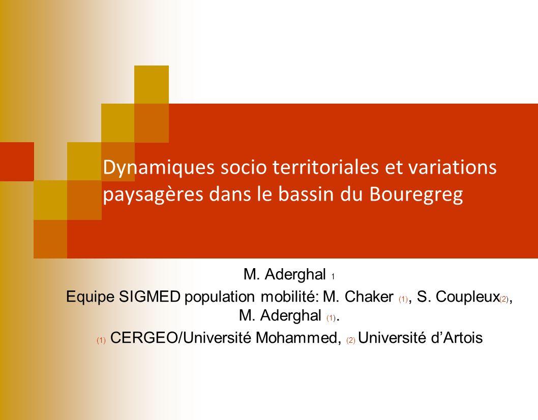 Dynamiques socio territoriales et variations paysagères dans le bassin du Bouregreg M. Aderghal 1 Equipe SIGMED population mobilité: M. Chaker (1), S.