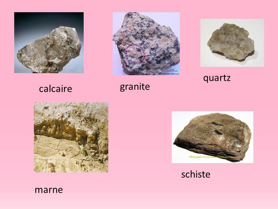 calcaire granite quartz schiste marne