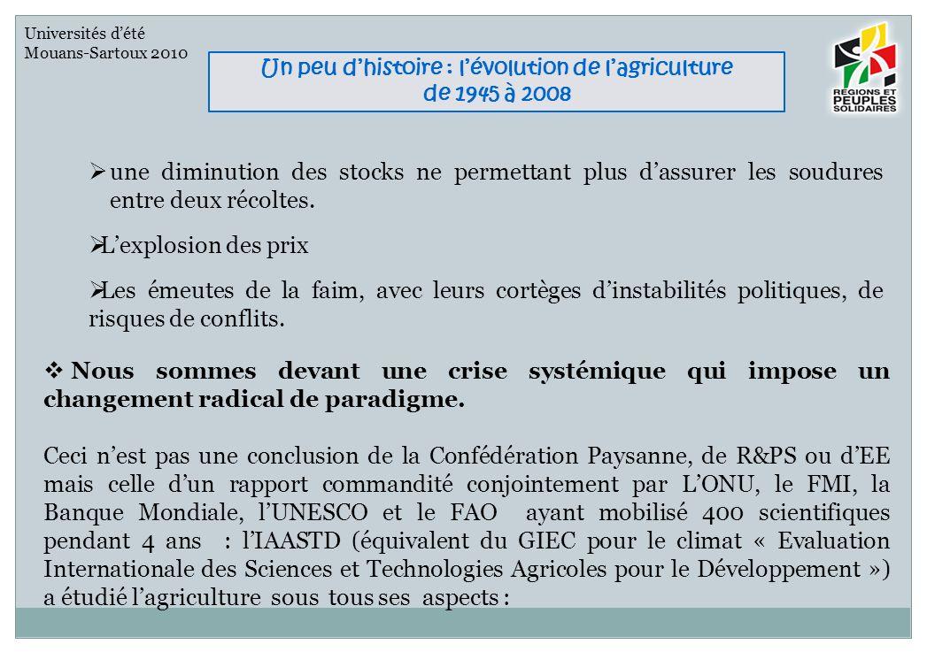 Universités dété Mouans-Sartoux 2010 Un peu dhistoire : lévolution de lagriculture de 1945 à 2008 Agronomiques, sociaux, écologiques, économiques, commerciaux, politiques, législatifs et culturels.