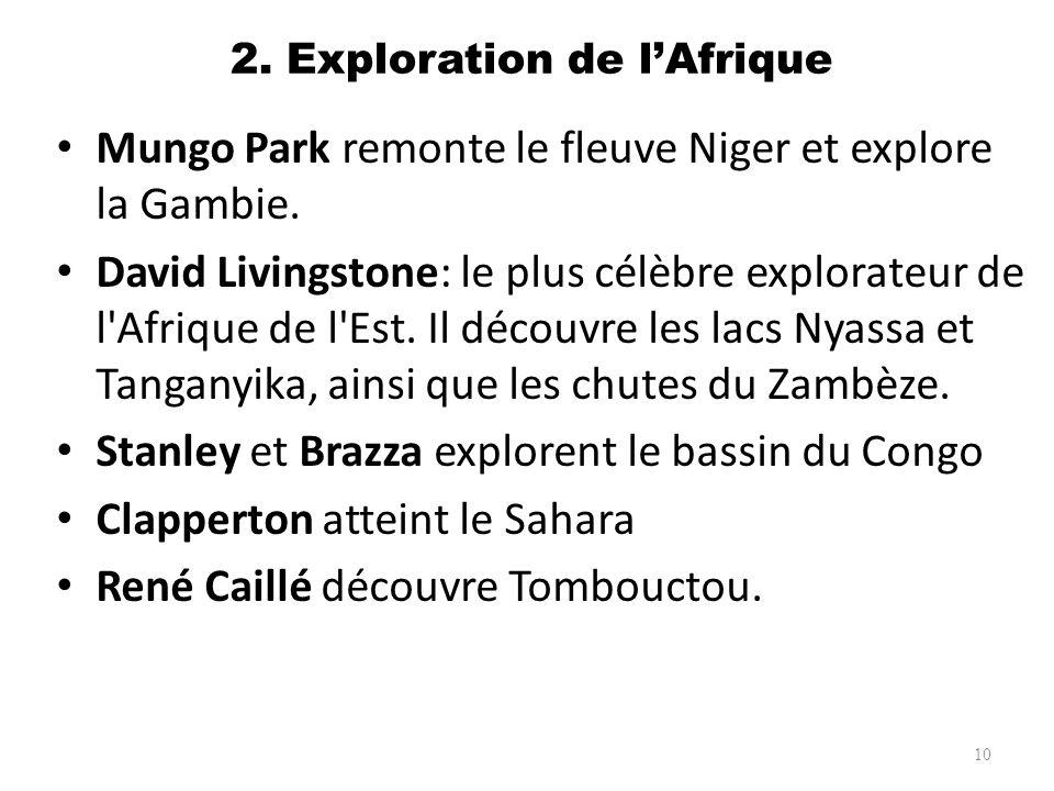2. Exploration de lAfrique Mungo Park remonte le fleuve Niger et explore la Gambie. David Livingstone: le plus célèbre explorateur de l'Afrique de l'E