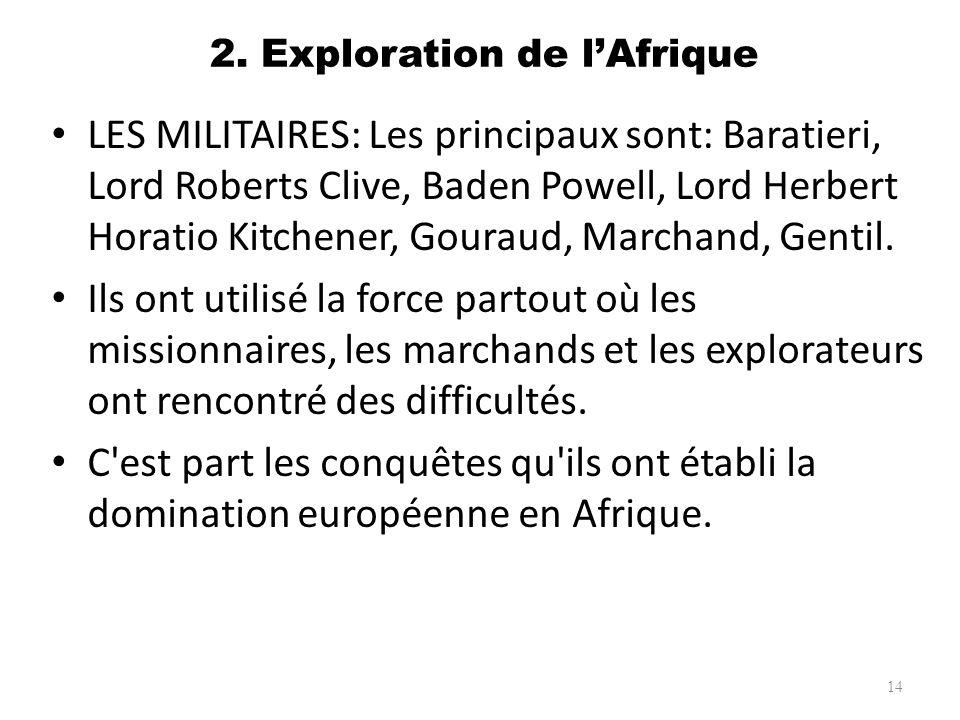 2. Exploration de lAfrique LES MILITAIRES: Les principaux sont: Baratieri, Lord Roberts Clive, Baden Powell, Lord Herbert Horatio Kitchener, Gouraud,