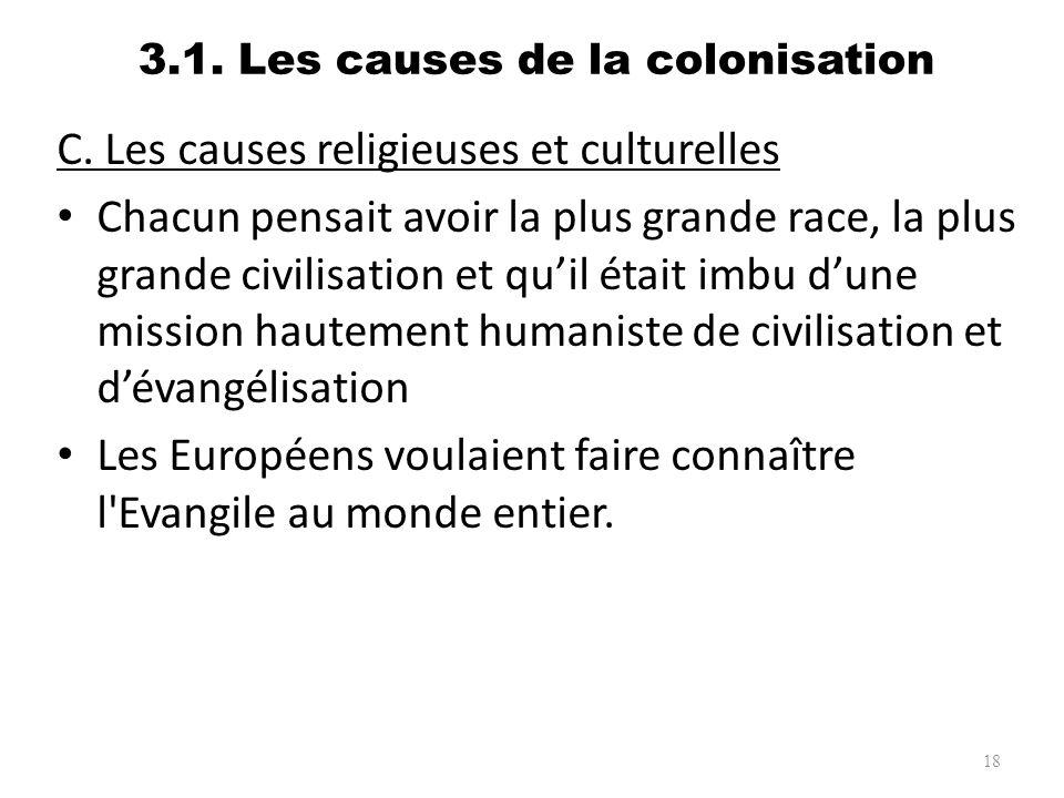 3.1. Les causes de la colonisation C. Les causes religieuses et culturelles Chacun pensait avoir la plus grande race, la plus grande civilisation et q