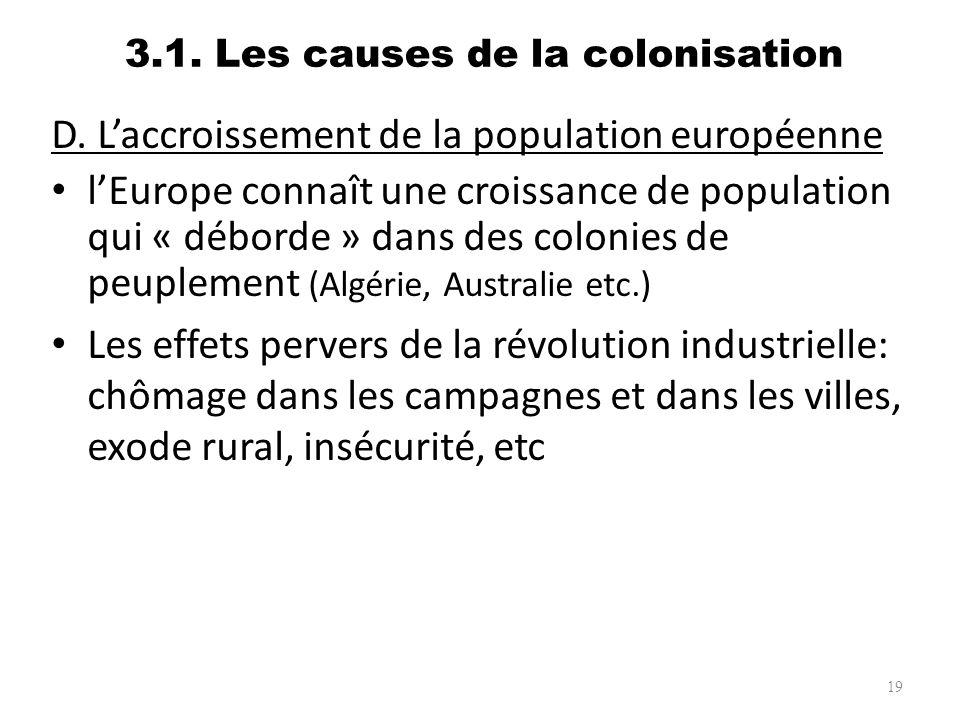 3.1. Les causes de la colonisation D. Laccroissement de la population européenne lEurope connaît une croissance de population qui « déborde » dans des