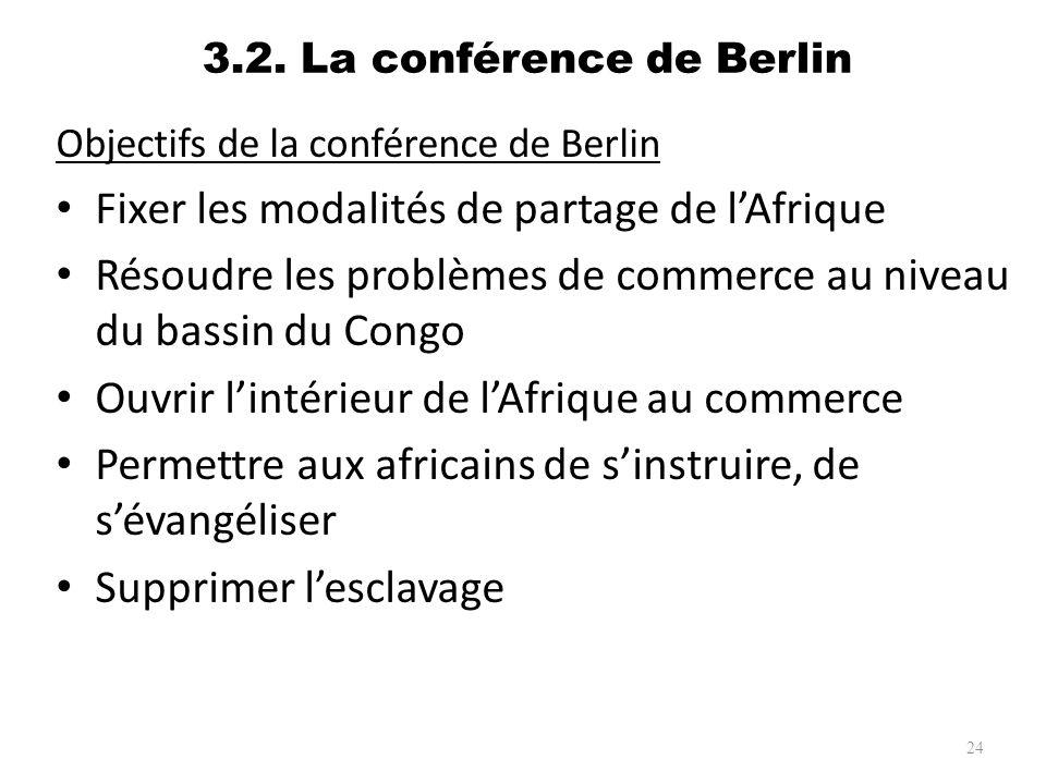3.2. La conférence de Berlin Objectifs de la conférence de Berlin Fixer les modalités de partage de lAfrique Résoudre les problèmes de commerce au niv