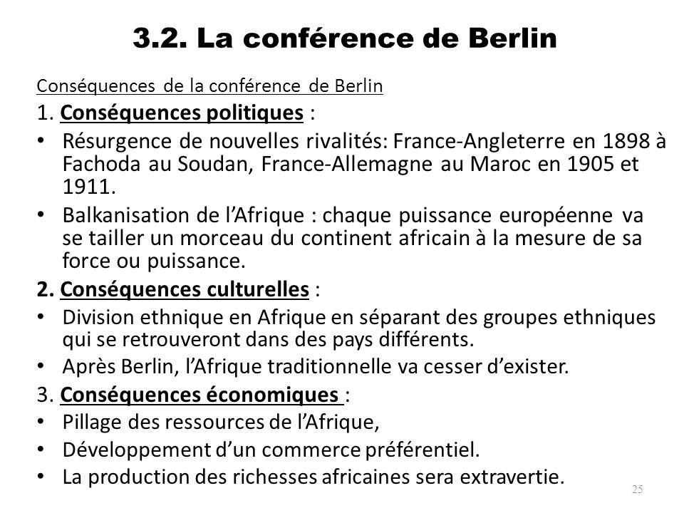 3.2. La conférence de Berlin Conséquences de la conférence de Berlin 1. Conséquences politiques : Résurgence de nouvelles rivalités: France-Angleterre