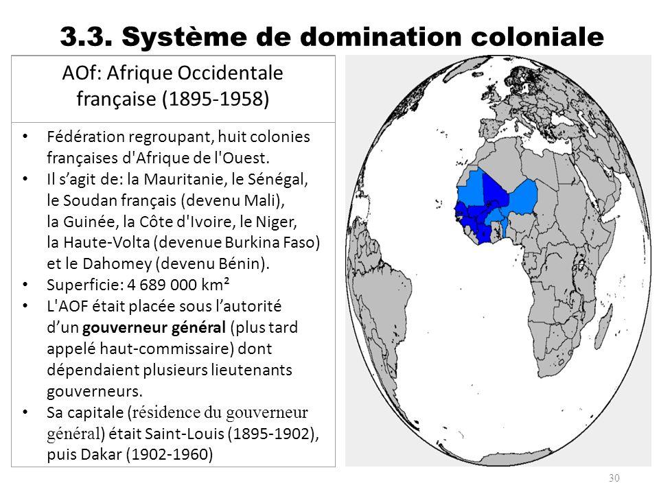 3.3. Système de domination coloniale 30 AOf: Afrique Occidentale française (1895-1958) Fédération regroupant, huit colonies françaises d'Afrique de l'