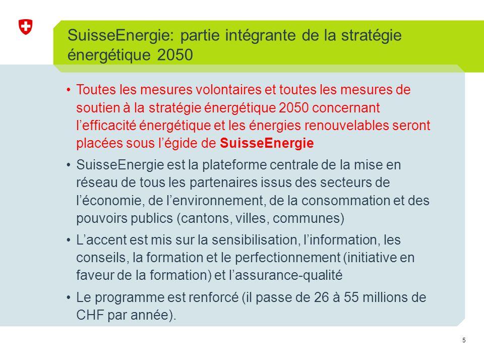 5 SuisseEnergie: partie intégrante de la stratégie énergétique 2050 Toutes les mesures volontaires et toutes les mesures de soutien à la stratégie énergétique 2050 concernant lefficacité énergétique et les énergies renouvelables seront placées sous légide de SuisseEnergie SuisseEnergie est la plateforme centrale de la mise en réseau de tous les partenaires issus des secteurs de léconomie, de lenvironnement, de la consommation et des pouvoirs publics (cantons, villes, communes) Laccent est mis sur la sensibilisation, linformation, les conseils, la formation et le perfectionnement (initiative en faveur de la formation) et lassurance-qualité Le programme est renforcé (il passe de 26 à 55 millions de CHF par année).