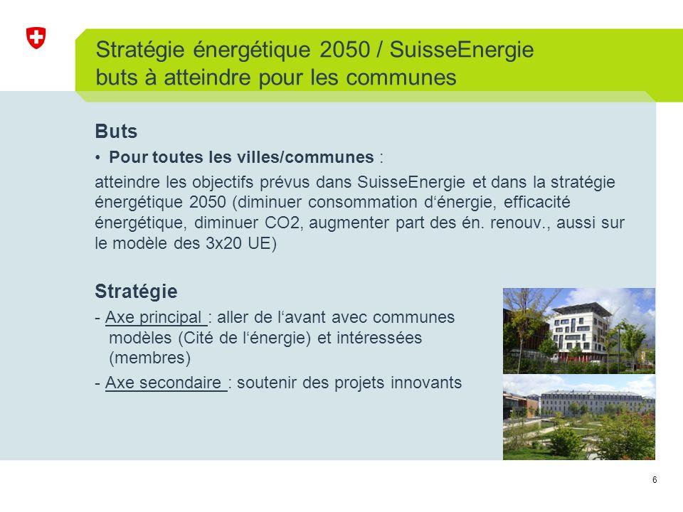 6 Stratégie énergétique 2050 / SuisseEnergie buts à atteindre pour les communes Buts Pour toutes les villes/communes : atteindre les objectifs prévus dans SuisseEnergie et dans la stratégie énergétique 2050 (diminuer consommation dénergie, efficacité énergétique, diminuer CO2, augmenter part des én.