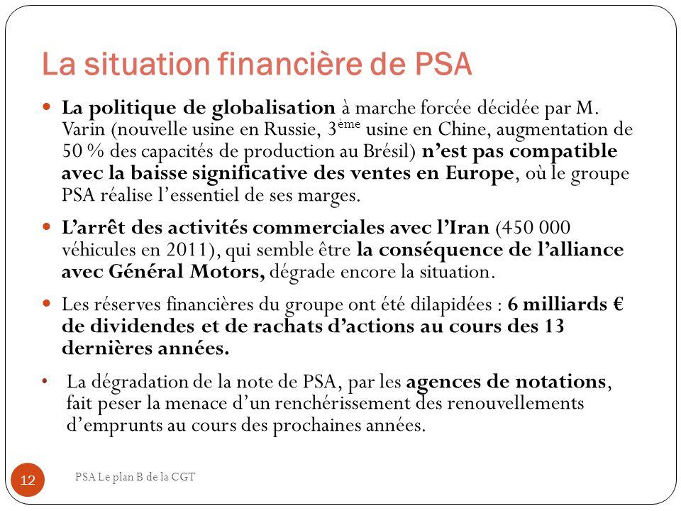 La situation financière de PSA PSA Le plan B de la CGT 12 La politique de globalisation à marche forcée décidée par M. Varin (nouvelle usine en Russie
