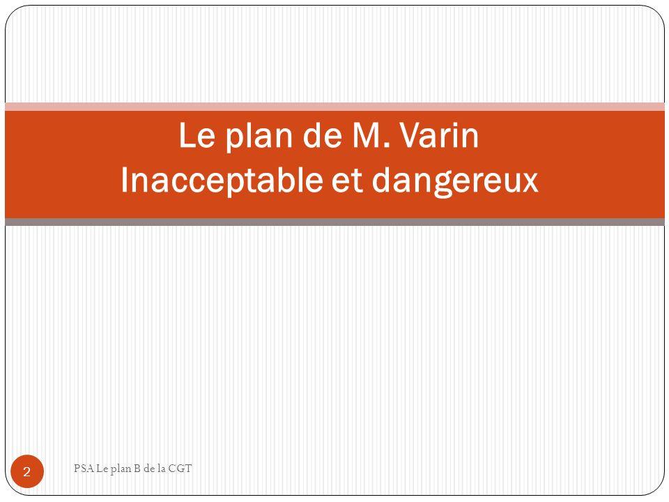 Rappel : sur le plan Varin PSA Le plan B de la CGT 3 Dévoilé le 9 juin 2011, ici même, par la CGT.
