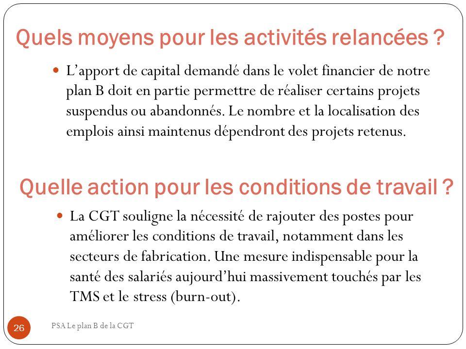 Quels moyens pour les activités relancées ? PSA Le plan B de la CGT 26 Lapport de capital demandé dans le volet financier de notre plan B doit en part
