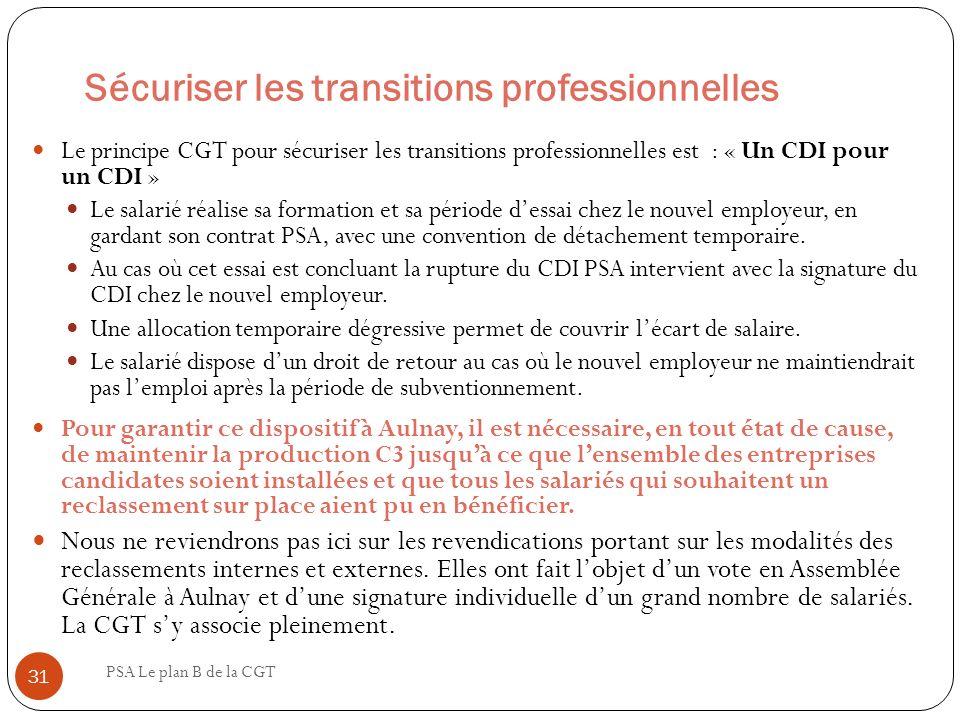 Sécuriser les transitions professionnelles PSA Le plan B de la CGT 31 Le principe CGT pour sécuriser les transitions professionnelles est : « Un CDI p