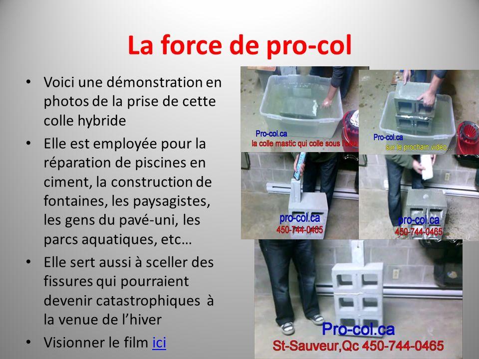 La force de pro-col Voici une démonstration en photos de la prise de cette colle hybride Elle est employée pour la réparation de piscines en ciment, l