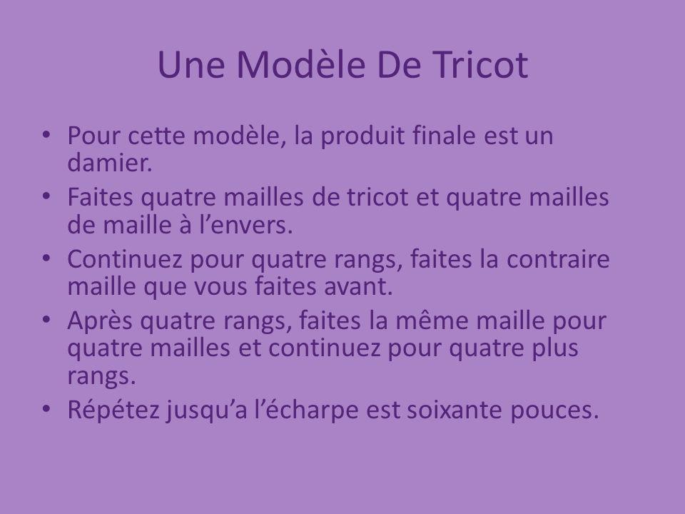 Une Modèle De Tricot Pour cette modèle, la produit finale est un damier.