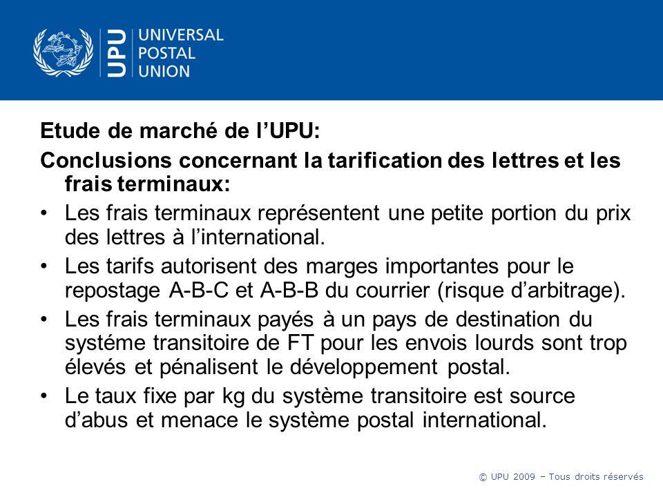 © UPU 2009 – Tous droits réservés Etude de marché de lUPU: Conclusions concernant la tarification des lettres et les frais terminaux: Les frais terminaux représentent une petite portion du prix des lettres à linternational.