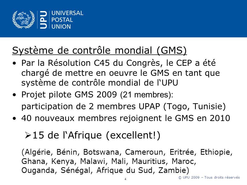 © UPU 2009 – Tous droits réservés Système de contrôle mondial (GMS) Par la Résolution C45 du Congrès, le CEP a été chargé de mettre en oeuvre le GMS en tant que système de contrôle mondial de lUPU Projet pilote GMS 2009 (21 membres): participation de 2 membres UPAP (Togo, Tunisie) 40 nouveaux membres rejoignent le GMS en 2010 15 de lAfrique (excellent!) (Algérie, Bénin, Botswana, Cameroun, Eritrée, Ethiopie, Ghana, Kenya, Malawi, Mali, Mauritius, Maroc, Ouganda, Sénégal, Afrique du Sud, Zambie) 4