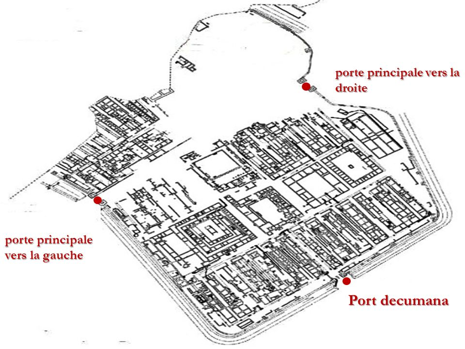 porte principale vers la droite porte principale vers la gauche Port decumana