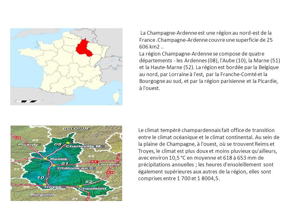 La Champagne-Ardenne est une région au nord-est de la France.Champagne-Ardenne couvre une superficie de 25 606 km2.. La région Champagne-Ardenne se co