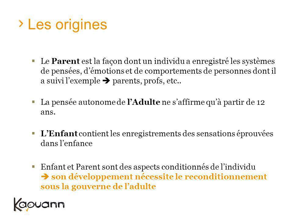 Les origines Le Parent est la façon dont un individu a enregistré les systèmes de pensées, démotions et de comportements de personnes dont il a suivi