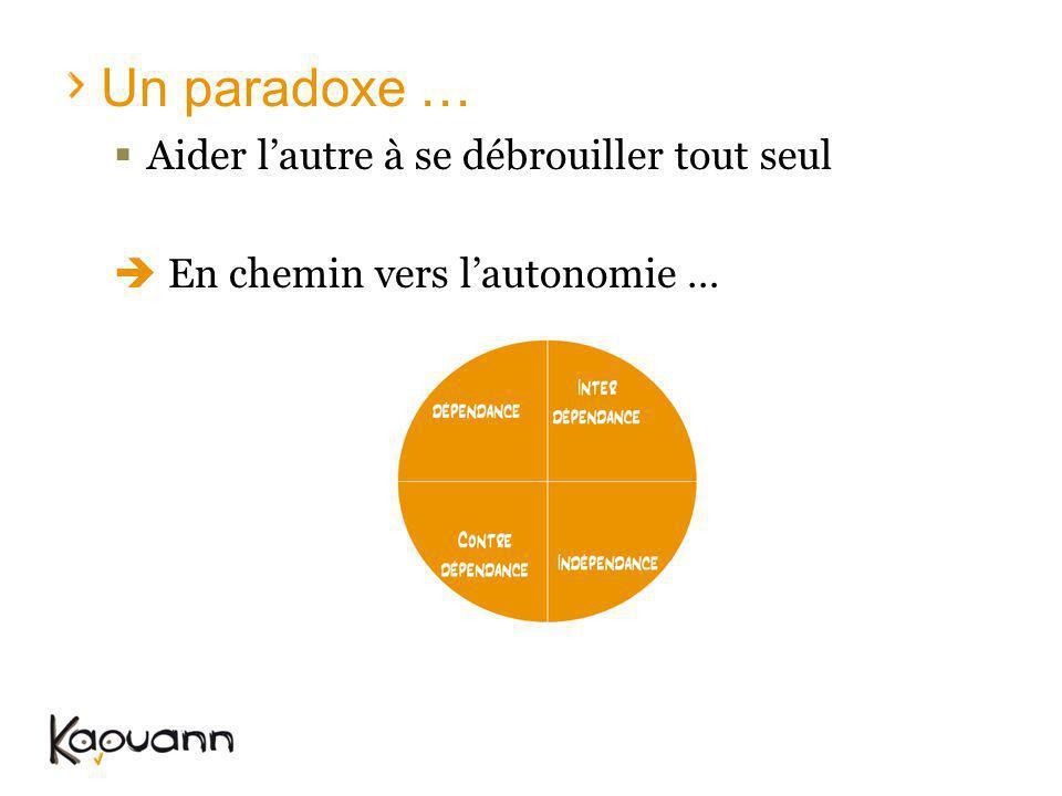 Un paradoxe … Aider lautre à se débrouiller tout seul En chemin vers lautonomie …