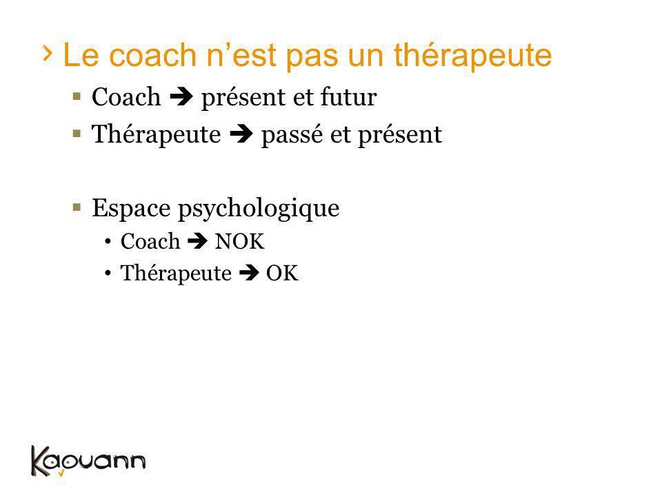 Le coach nest pas un thérapeute Coach présent et futur Thérapeute passé et présent Espace psychologique Coach NOK Thérapeute OK