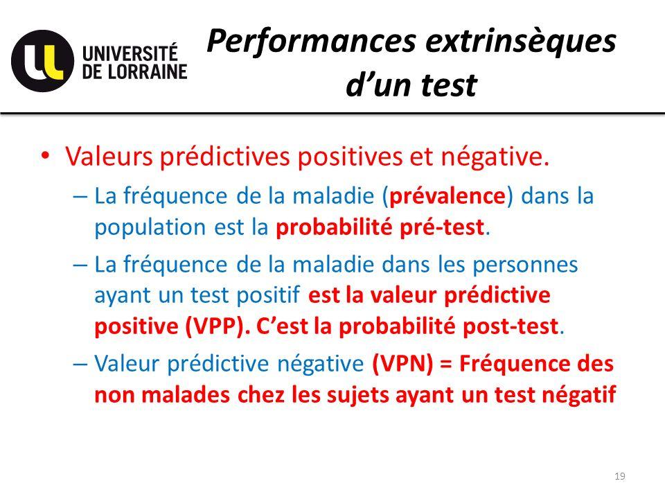 Performances extrinsèques dun test Valeurs prédictives positives et négative. – La fréquence de la maladie (prévalence) dans la population est la prob