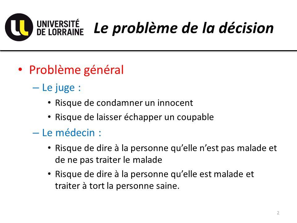 Le problème de la décision Problème général – Le juge : Risque de condamner un innocent Risque de laisser échapper un coupable – Le médecin : Risque d