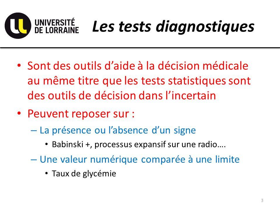 Les tests diagnostiques Sont des outils daide à la décision médicale au même titre que les tests statistiques sont des outils de décision dans lincertain Peuvent reposer sur : – La présence ou labsence dun signe Babinski +, processus expansif sur une radio….