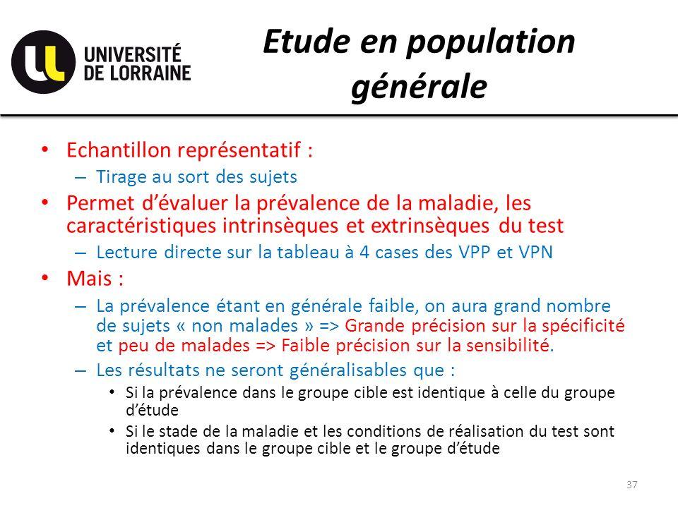 Etude en population générale Echantillon représentatif : – Tirage au sort des sujets Permet dévaluer la prévalence de la maladie, les caractéristiques