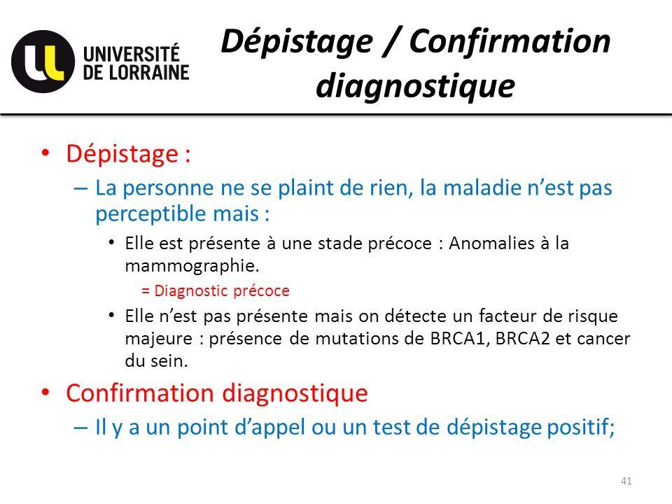 Dépistage / Confirmation diagnostique Dépistage : – La personne ne se plaint de rien, la maladie nest pas perceptible mais : Elle est présente à une stade précoce : Anomalies à la mammographie.