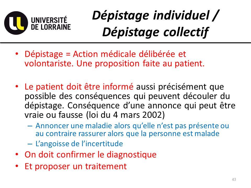 Dépistage individuel / Dépistage collectif Dépistage = Action médicale délibérée et volontariste. Une proposition faite au patient. Le patient doit êt
