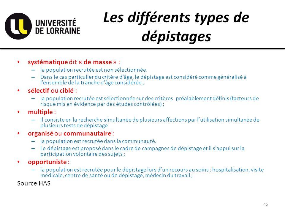 Les différents types de dépistages systématique dit « de masse » : – la population recrutée est non sélectionnée. – Dans le cas particulier du critère