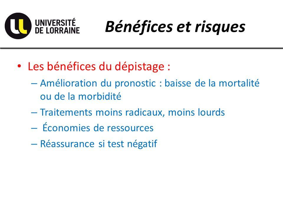 Bénéfices et risques Les bénéfices du dépistage : – Amélioration du pronostic : baisse de la mortalité ou de la morbidité – Traitements moins radicaux